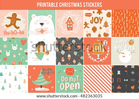 Collection of 15 Christmas gift tags and cards templates. beautiful cheerful posters set. Lovely winter invitations with cartoon and character style illustration.
