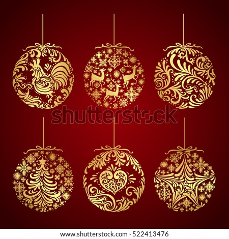 stock-vector-collection-of-christmas-gold-balls-decoration-vector-illustration