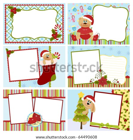 Collection of Christmas greetings cards, postcards or photo farme (EPS10)