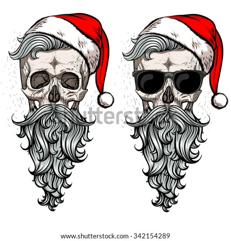 Stock Photo Collection of christmas hipster skulls. .2 in 1.