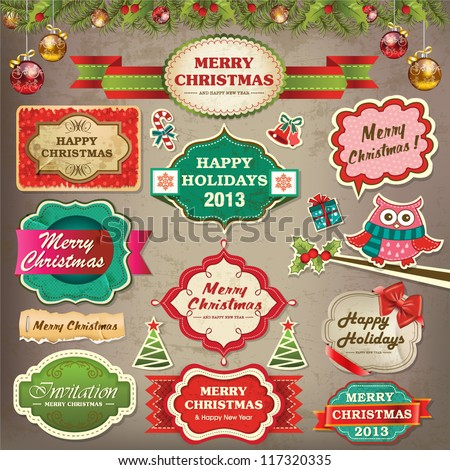 Collection of christmas ornaments and decorative elements, vintage frames, labels, stickers and ribbons