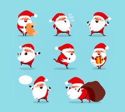 Collection of Christmas Santa Claus. Set of funny cartoon characters with different emotions and New Year's objects. Vector illustration isolated on light blue background. Set - 1