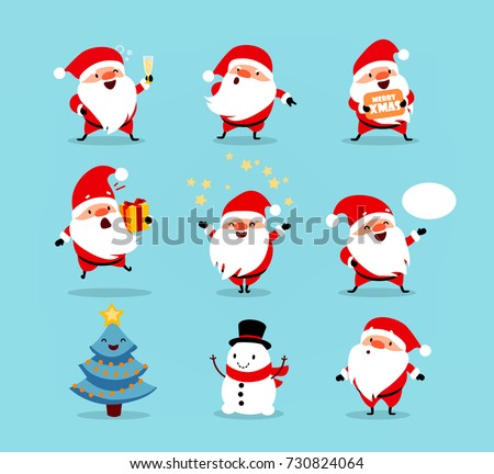 Collection of Christmas Santa Claus. Set of funny cartoon characters with different emotions and New Year's objects. Vector illustration isolated on light blue background. Set - 3