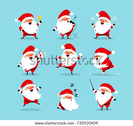 Collection of Christmas Santa Claus. Set of funny cartoon characters with different emotions and New Year's objects. Vector illustration isolated on light blue background. Set - 2