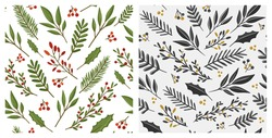 Collection of Christmas seamless patterns with winter plants and berries. Design for Holidays decoration, wrapping paper, print, fabric or textile. Vector illustration.