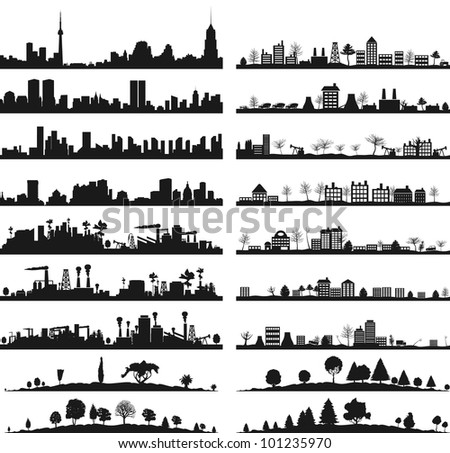 Collection of city landscapes. A vector illustration - stock vector