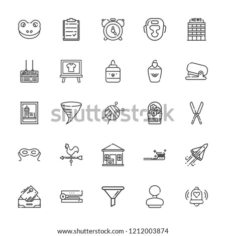 Collection of 25 clip outline icons include icons such as alarm, funnel, office, flowers, boxing, stapler, eye mask, space shuttle, package delivered, shears, weather vane