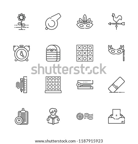 Collection of 16 clip outline icons include icons such as alarm, whistle, eye mask, stapler, stationary, inbox, stamp, reading, weather vane, eraser, flower, tic tac toe