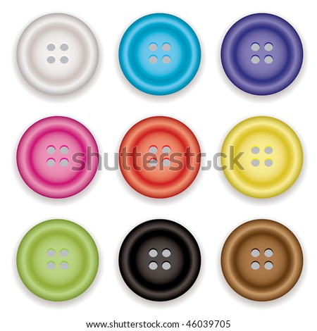 Collection of clothes buttons with a selection of colors with shadow