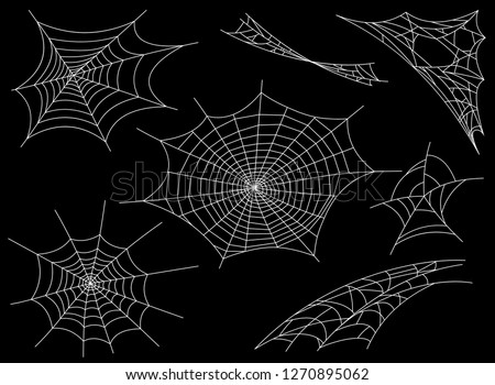 Collection of Cobweb, isolated on black, transparent background. Spiderweb for Halloween design. Spider web elements,spooky, scary, horror halloween decor. Hand drawn silhouette, vector illustration