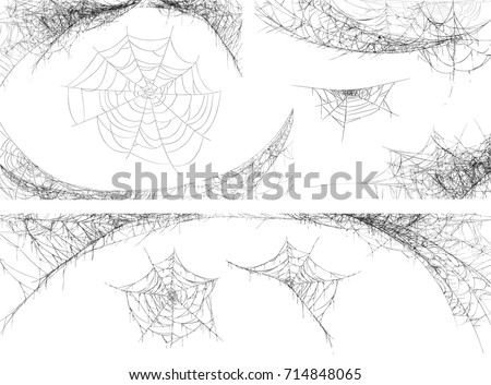 Collection of Cobweb, isolated on white, transparent background. Spiderweb for Halloween design.