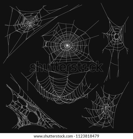 Collection of Cobweb Set, Isolated on Black Background