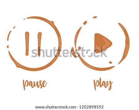 Collection of coffee cup round stains in shape of play and pause buttons. Take a break and relax concept. Vector drops and splashes on white.