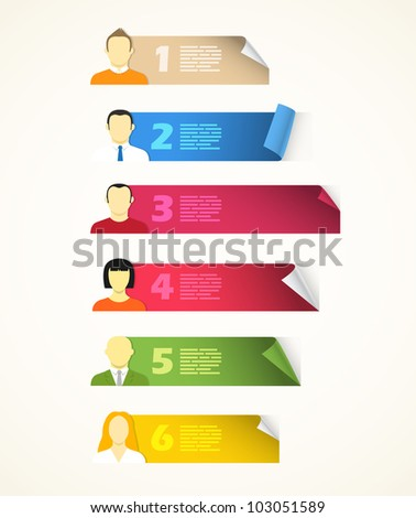 Collection of color blank paper sheets with avatar symbols
