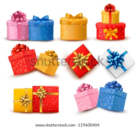 Collection of color gift boxes with bows and ribbons. Vector illustration.