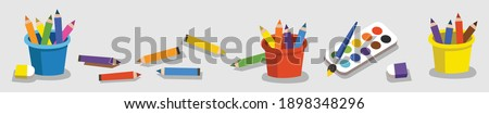 Collection of Color Pencils, Color Paint for children in vector illustration on gray background. Cartoon Pencils and Paints.