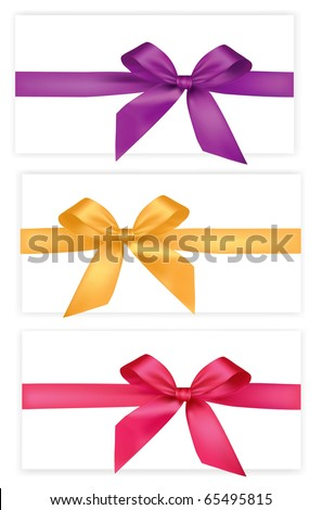 Collection of colored bows with ribbons. Vector.
