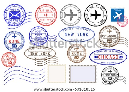 Collection of colored postal stamps from different cities. Vector illustration