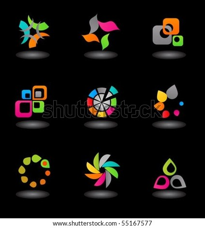 collection of colorful abstract icons on  black  background