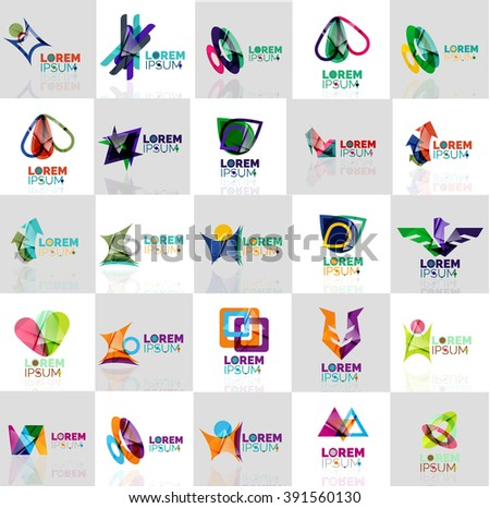 Collection of colorful abstract origami logos. Company universal concept branding identity emblem, elements, buttons
