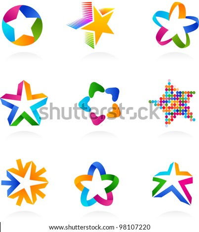 collection of colorful abstract star icons, symbols and graphic elements, vector illustration