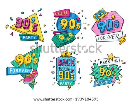 Collection of colorful back to 90s logo vector flat illustration in pop art style. Set of ninety years emblem numeral retro symbol isolated on white. Bundle of labels decorated with design elements Stock photo ©