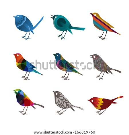 Collection of colorful birds, vector illustration
