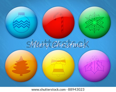 Collection of Colorful Christmas Badges