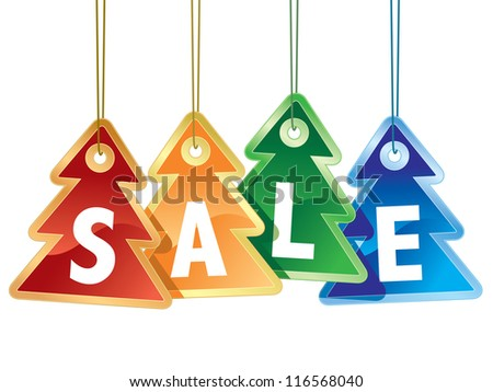 Collection of colorful christmas tags on white background
