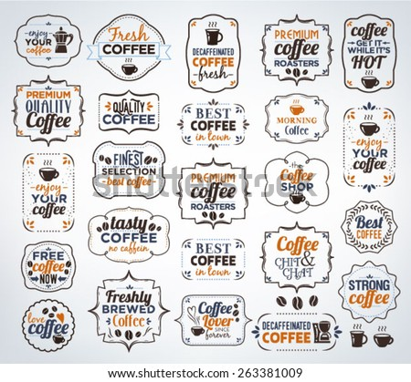 Collection Of Colorful Coffee Calligraphic And Typographic Vintage Design Elements