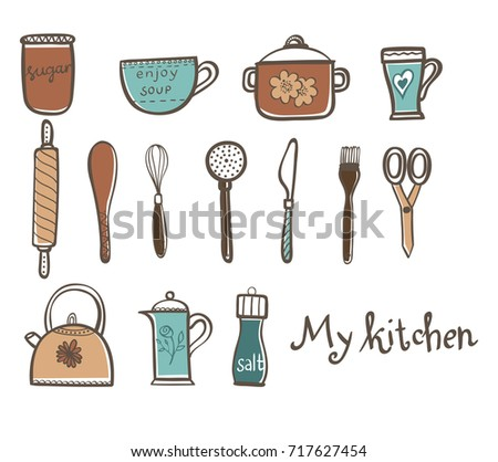 Collection Of Colorful Doodle Kitchen Supplies Isolated On White  Background. Vector Illustration For Your Design