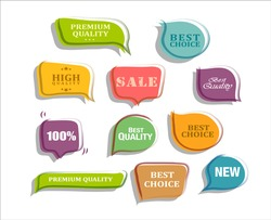 collection of colorful flat shape insulation sales labels
