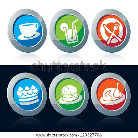 Collection of colorful food icons over white and black background