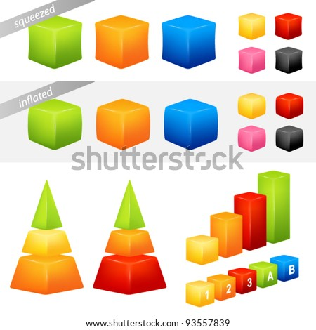 collection of colorful geometric 3D shapes suitable as background for icons or graphs and charts