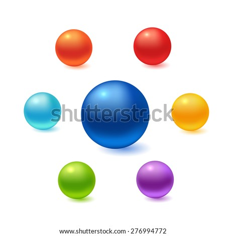 Stock Photo Collection of colorful glossy spheres isolated on white. Vector illustration for your design.