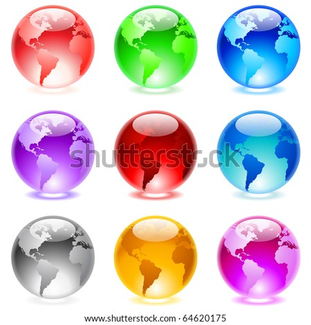 Collection of colorful glossy spheres isolated on white. World globe.