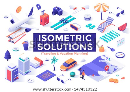 Collection of colorful isometric design elements or objects isolated on white background - tourism, travel, summer trip or journey, vacation planning, touristic service. Modern vector illustration.