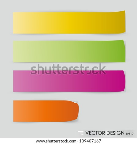 Collection of colorful note papers, ready for your message. Vector illustration.