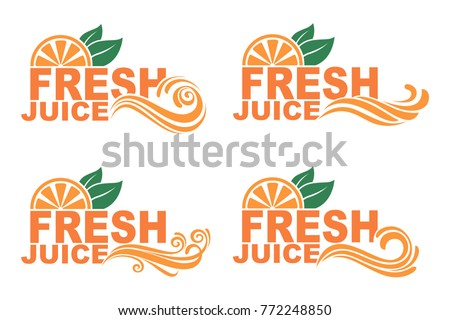 collection of colorful orange fresh juice emblems