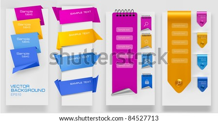 Collection of colorful origami paper banners. Vector illustration.