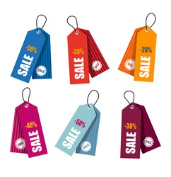 Collection of colorful price tags for web or print