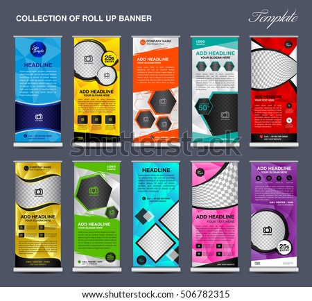 company colorful roll up banner template for advertising - Download ...