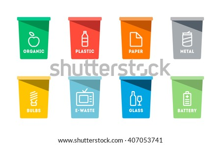 Collection of colorful separation recycle bin icon.Organic,batteries,metal,plastic,paper,glass,waste,light bulb,aluminium,food,can,bottle.Bin vector,recycle bin.Vector illustration. Isolated on white