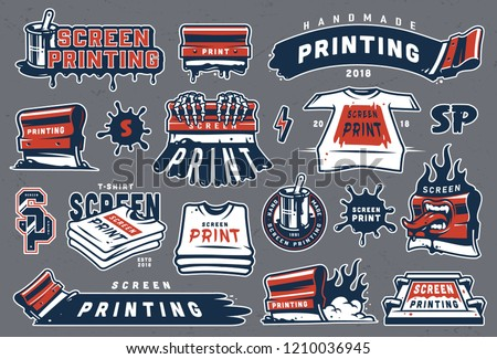 Collection of colorful serigraphy elements with screen printing letterings shirts industrial squeegees brush in bucket can paint splashes isolated vector illustration