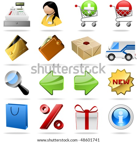 Collection of colorful shopping vector icons for internet shops.