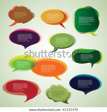 Collection of Colorful Speech And Thought Bubbles Background Vector - stock vector