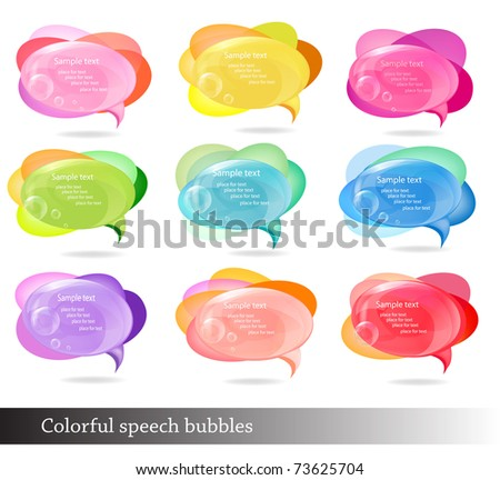 Collection of colorful speech and thought bubbles. Vector illustration.
