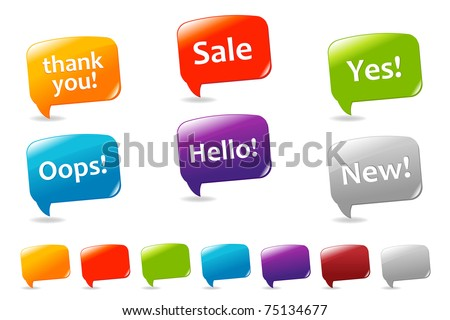 Collection Of Colorful Speech Bubbles And Dialog Balloons, Isolated On White Background, Vector Illustration