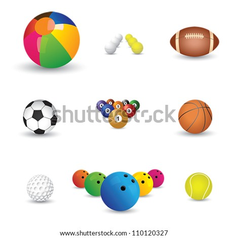 Collection of colorful sports balls illustration. The graphics include balls from sports like tennis, soccer, football, golf, table tennis, rugby, bowling, basketball, billiards and snooker.