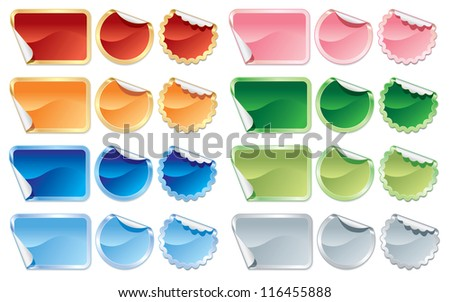 Collection of colorful stickers and labels on white background